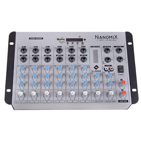 Mesa De Som Mixer Nanomix LL Audio Na902R BT 9 Canais
