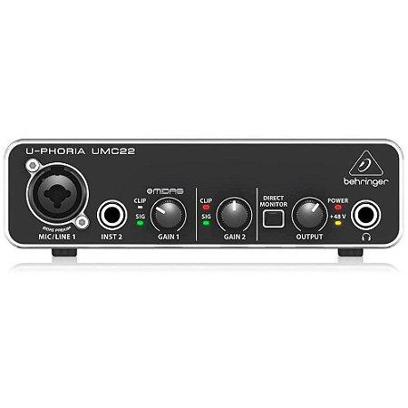 Interface De Áudio Usb U-Phoria Umc22 Behringer Profissional