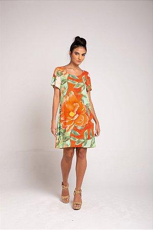 Vestido Curto - Floral Maxi