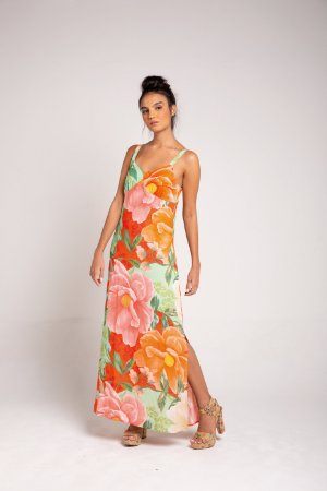 Vestido Midi Fendas - Floral Maxi