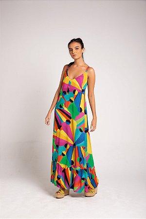 Vestido Midi Babado - Arco-Íris
