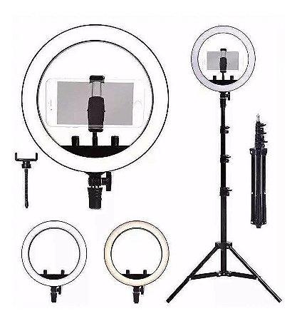 "Kit Completo Ring Light 10"" 26cm com Tripé grande profissional…"