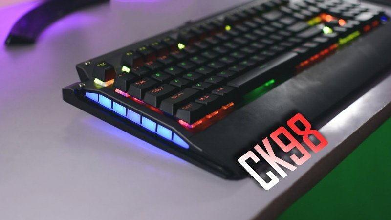 Teclado Mecânico Gamer Motospeed CK98 Rainbow, Switch LK Optical, Black, FMSTC0010OPT