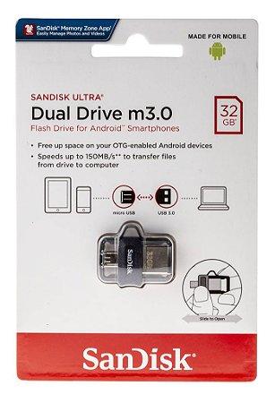 Pen Drive Sandisk Dual Drive Usb 3.0 Micro-usb 32gb
