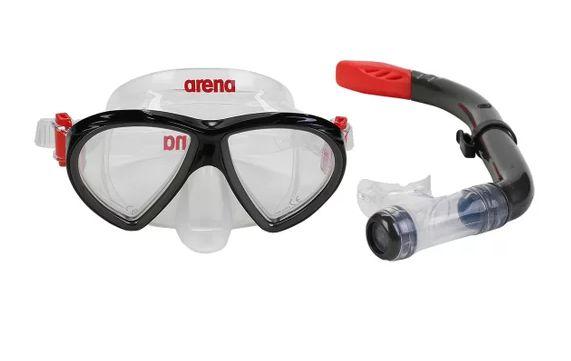 Kit Mergulho Arena Infantil  Sea Discovery 2 c/ Máscara/Snorkel - Preto e Vermelho