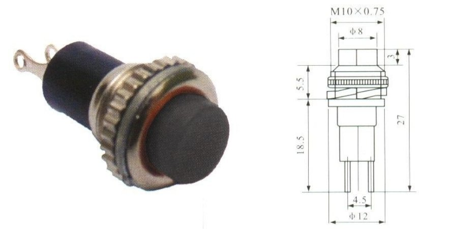 Chave Botão - NA - S/TRAVA - DIAM. 12MM - Preta - Importado