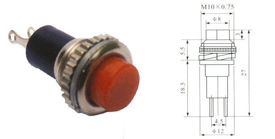Chave Botão - NA - S/TRAVA - DIAM. 12MM - Vermelha - Importado