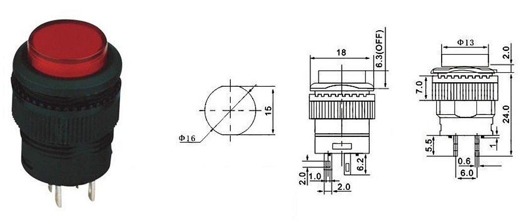 Chave Botão - NA - S/TRAVA - DIAM. 18MM 2T - 3A/250VAC - Vermelha - Ilum 2V - Importado