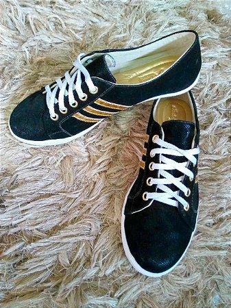 e82a4fa04c tenis casual feminino preto e dourado - Sapatilhas Atacado