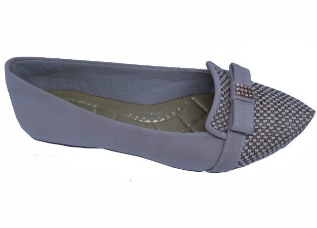 sapatilha cinza com tecido e laço