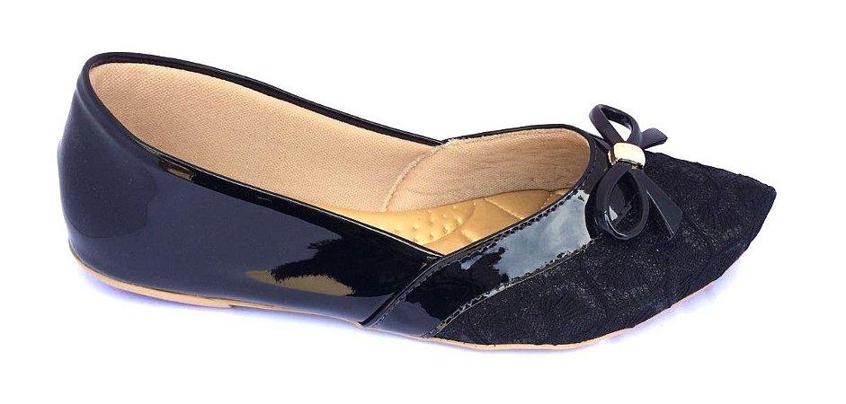 sapatilha no atacado preto verniz com tecido em renda