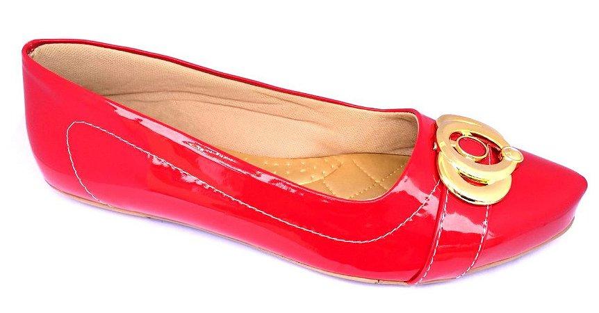 sapatilha no atacado vermelho verniz com enfeite