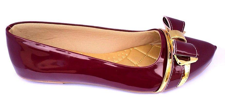 sapatilha no atacado cor marsala laço detalhe dourado