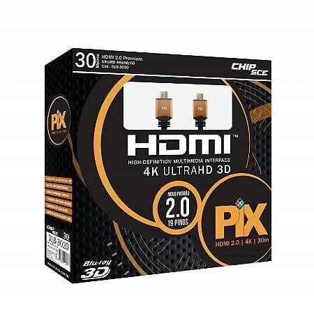 Cabo HDMI 30 Metros 2.0 4K 3D Chip Sce