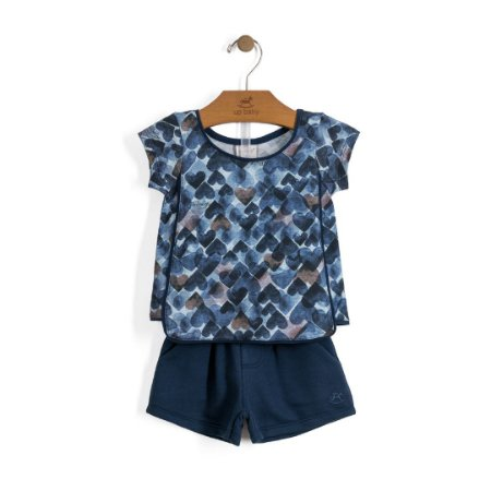 Conjuntinho Camisetinha + Shorts | Up Baby - Blue Heart