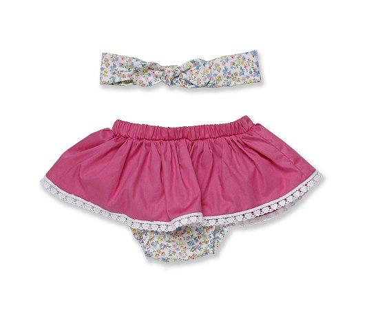 Tapa fralda com turbantinho - Floral Pink
