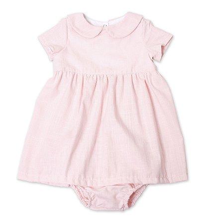 Vestido basico vintage - rosa bebê