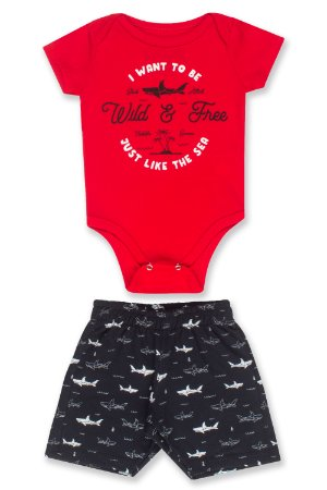 Conjunto body vermelho + bermuda - Tubarão