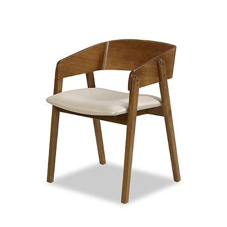 Cadeira Contemporânea Encosto em madeira Assento Estofado