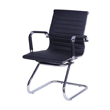 Cadeira office Esteirinha Alta Corino Preta Base Fixa