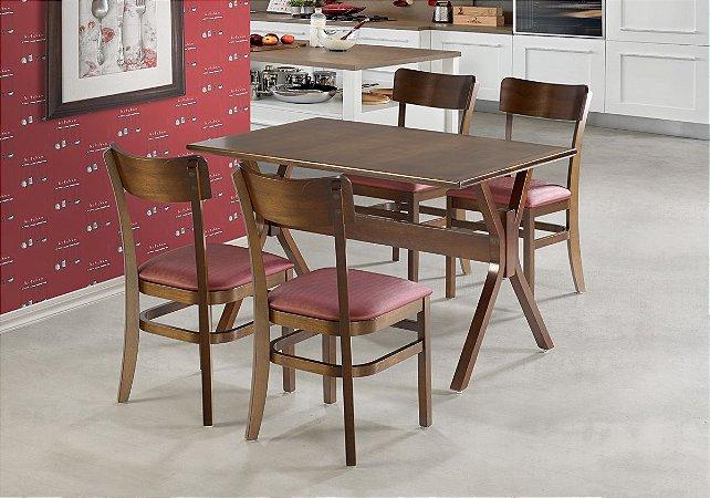 Conjunto Mesa Santiago 130x80 cm E 4 Cadeiras Portugal Cor Castanho