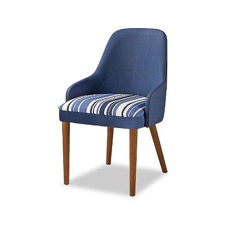 Cadeira Bontá Cor Castanho Estofado Composé Listras Azul