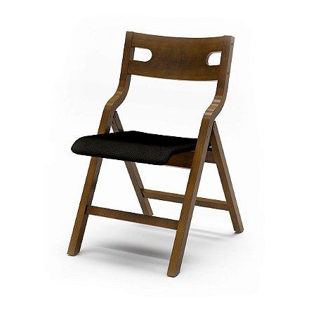 Cadeira Audace Dobrável Cor Castanho Assento Estofado Fox 4.2.663 E Encosto Madeira