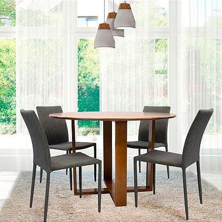 Conjunto Sala De Jantar E Cozinha Mesa Stabile Ø120cm   4 Cadeiras Glam em linho cor Cinza claro