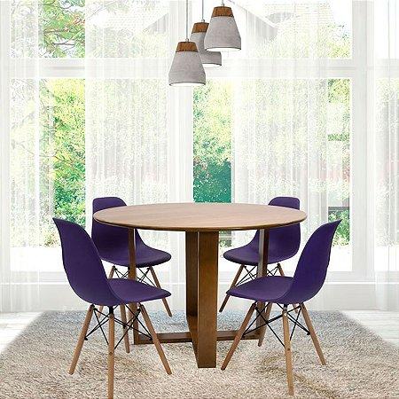 Conjunto Sala De Jantar E Cozinha Mesa Stabile Ø120cm | 4 Cadeiras DKR PP cor Azul Base Madeira