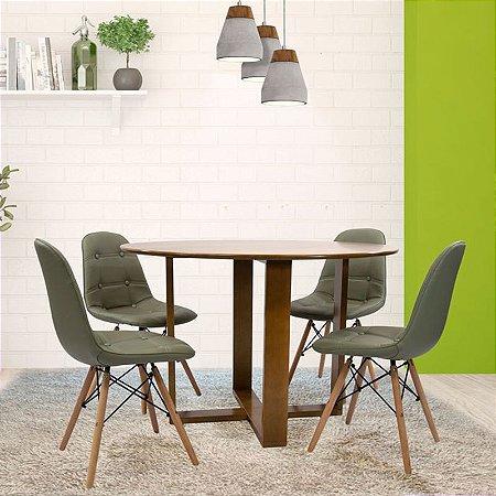 Conjunto Sala De Jantar E Cozinha Mesa Stabile Ø120cm | 4 Cadeiras Botonê cor Fendi