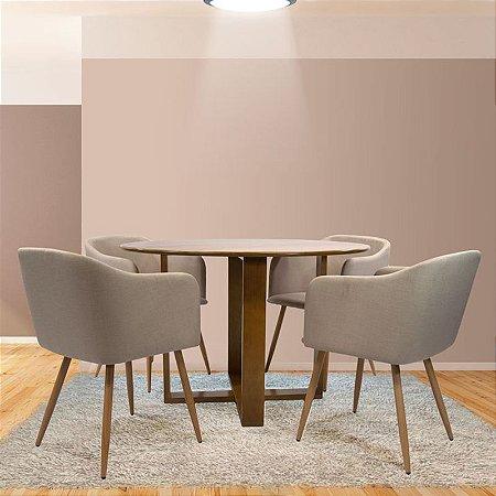 Conjunto Sala De Jantar e Cozinha Mesa Stabile Ø120cm | 4 Cadeiras Charla Linho cor Bege Base Metal cor Madeira