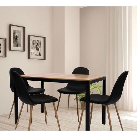Conjunto Sala De Jantar E Cozinha Mesa Solin 120 x 80 cm com 4 Cadeiras Charla BM cor Preta