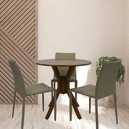 Conjunto Sala De Jantar e Cozinha Mesa Santiago Ø70cm Com 3 Cadeiras Glam Corino cor Fendi