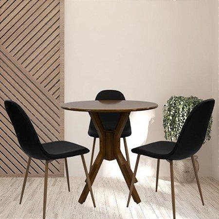 Conjunto Sala De Jantar e Cozinha Mesa Santiago Ø70cm Com 3 Cadeiras Charla BM cor Preta