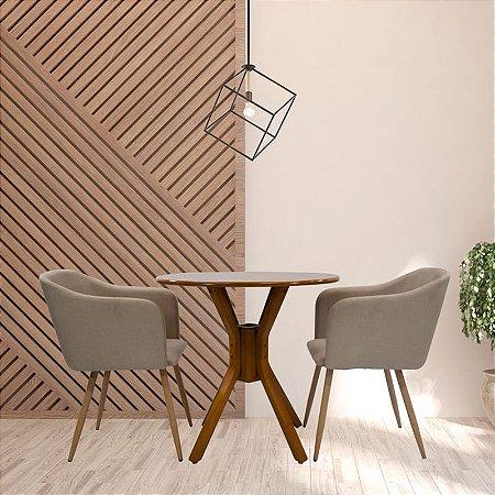Conjunto Sala De Jantar e Cozinha Mesa Santiago Ø70cm Com 2 Cadeiras Charla Linho cor Bege Base Metal cor Madeira