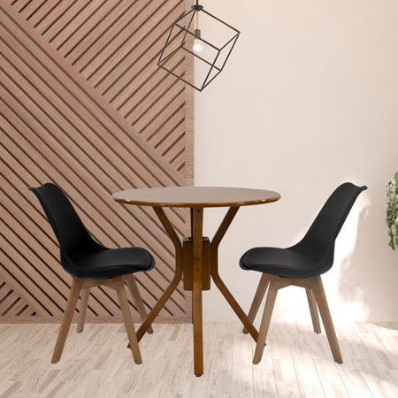Conjunto Sala De Jantar e Cozinha Mesa Santiago Ø70cm Com 2 Cadeiras Joly cor Preta