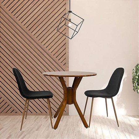 Conjunto Sala De Jantar e Cozinha Mesa Santiago Ø70cm Com 2 Cadeiras Charla BM cor Preta