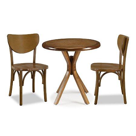 Conjunto Cadeiras Toulon e Mesa Santiago Ø70 cor Castanho