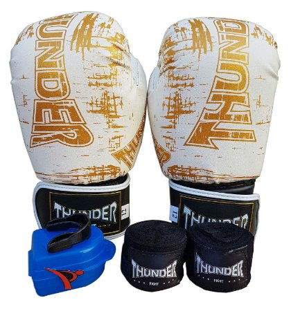 Kit de Boxe / Muay Thai 12oz - Branco Riscado - Thunder Fight
