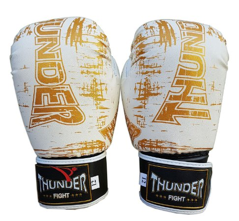 Luva de Boxe / Muay Thai 12oz  - Branco Riscado - Thunder Fight