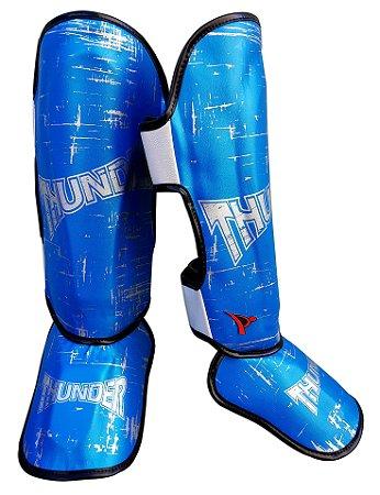 Caneleira Muay Thai MMA Azul Riscado Médio 30mm Thunder Fight