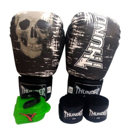 Kit de Boxe / Muay Thai 10oz - Caveira  - Thunder Fight