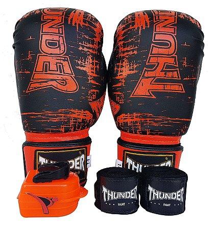 Kit de Boxe / Muay Thai 14oz - Preto e Laranja - Thunder Fight