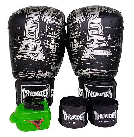 Kit de Boxe / Muay Thai 16oz - Preto / Prata - Thunder Fight