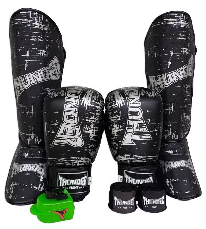 Super Kit de Muay Thai / Kickboxing 16oz - Caneleira G - Preto / Prata - Thunder Fight