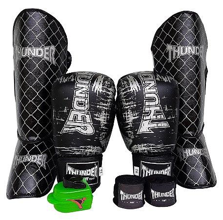Kit de Muay Thai / Kickboxing 16oz - Preto / Prata - Thunder Fight