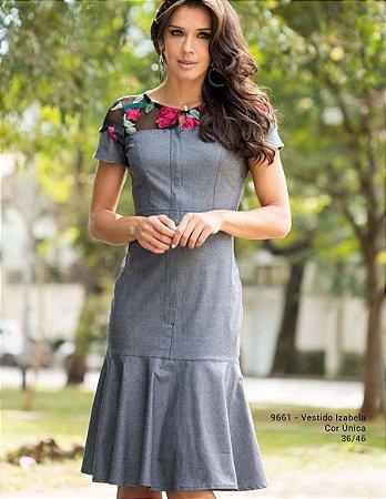 Vestido Izabela Jeans Detalhe Tela - 9661 - Joyaly
