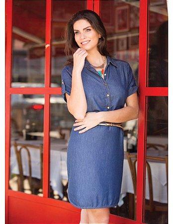 Vestido Jeans Manga Curta | Joyaly | Moda Evangélica