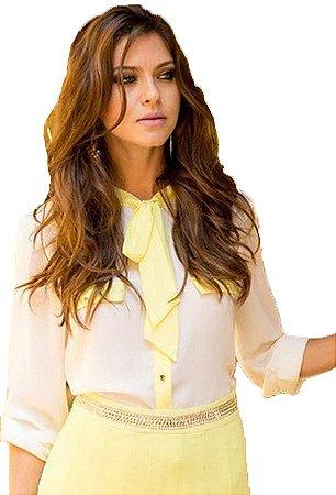 Camisa Laço Branca e Amarela | Linda Valentina | Moda Executiva