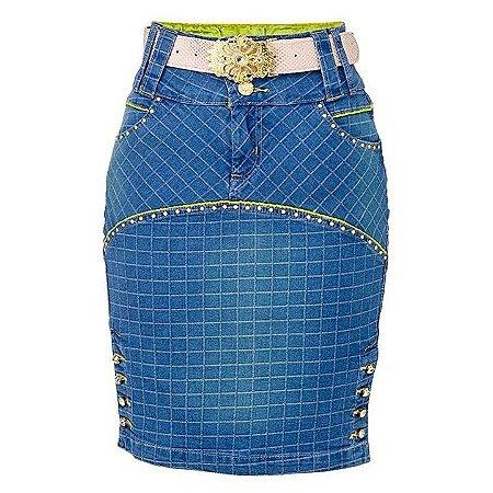 Saia Jeans Quadri | Saiaria | Moda Evangélica